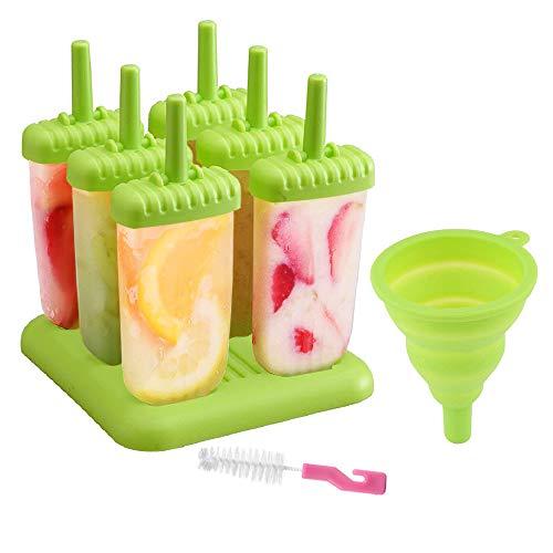 Delmkin 6 St. EIS am Stiel Formen Eisformen 6 Stück Eiscreme Formen für Kinder (Grün)