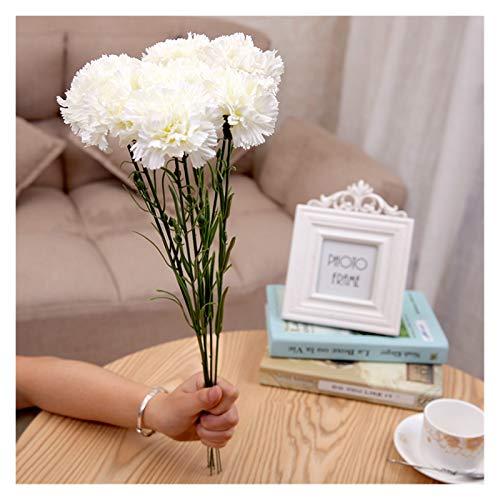 Zxebhsm Künstliche Blumen 1 stück 48cm Künstliche Blume Nelke Gefälschte Blumen Hochzeit Party Decoraiton Mutter der Tag Geschenk für Wohnkultur (Farbe : White)