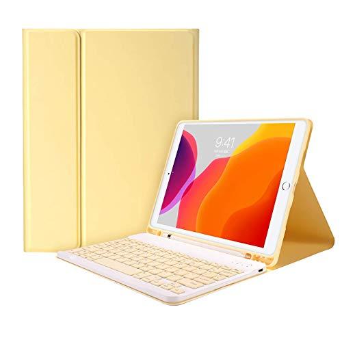 Aidashine IPad 6th/5th Generation Case Keyboard 9.7' 2018/2017 - Detachable Wireless Bluetooth Keyboard, Magnetic Smart Case with Pencil Holder,Yellow,iPad 9.7 2017/2018