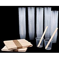 Lawei 100 pack Plastic Measuring Cups - 1 oz Transparent Scale Cups with 100 pack Wooden Stirring Sticks for Mixing Paint, Stain, Epoxy and Resin