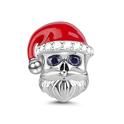 GNOCE Santa Claus Charm Beads with Red Plated Hat 925 Sterling Silver Give You A Surprise Santa Claus Charm for Bracelet/Necklace Christmas Charm Gifts for Family
