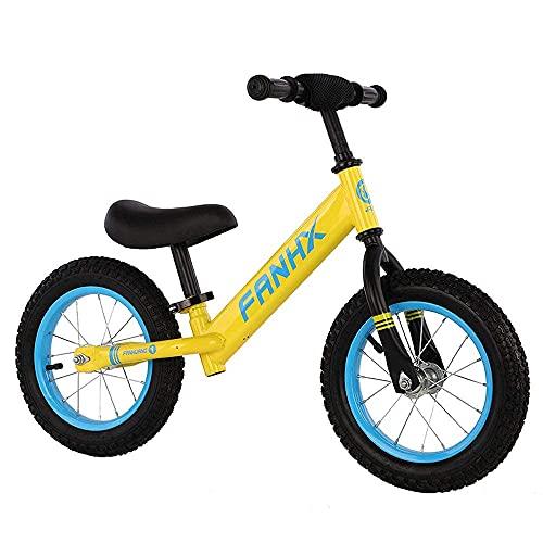 DRAGDS Niños Bicicletas de Bicicleta de 12 Pulgadas Bicicleta de Balance sin Pedal de Manillar Antideslizante/Silla de Montar Ajustable 1-6 Años Niños/Amarillo