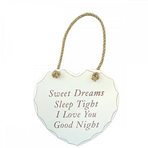 LEONARDO HOME personalisiert Sweet Dreams Schild zum Aufhängen Shabby Chic weiß Herz Gravur