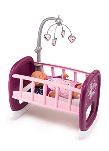 Smoby 220343 Baby Nurse Puppenwiege mit Mobile, Puppenbett, für Kinder ab 18 Monaten, Rosa, Lila