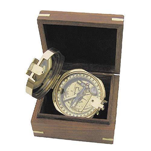 linoows Brunton Kompass, Tischkompass, Magnetkompass aus poliertem Messing in Holzbox