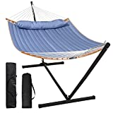 SUNCREAT Hammocks Portable Hammock with Stand, 2 Person Hammock with Bamboo Spreader Bar, 450lbs Capacity, Blue