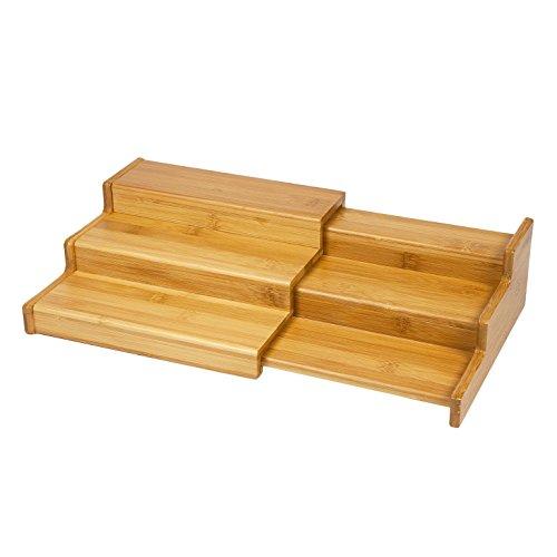 WoodLuv Uittrekbaar 3-traps kruidenrek van bamboe, staps rek, breedte uittrekbaar 22 cm - 38 cm