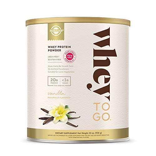 Solgar Whey To Go Whey Protein Powder, Vanilla, 33 oz - Whey Protein Isolate and Concentrate - Mixes...