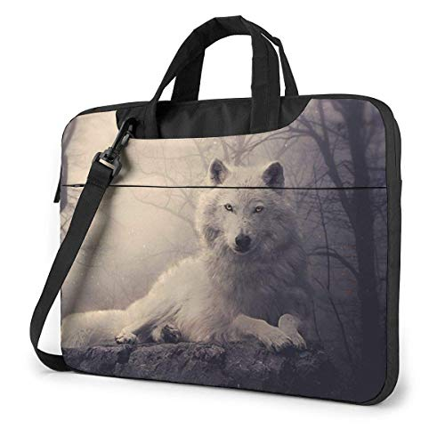 White Wolf Laptop Sleeve Case 15.6 Inch Computer Tote Bag Shoulder Messenger Briefcase for Business Travel