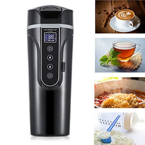 Dpower tazza di riscaldamento per auto bollitore elettrico multifunzione intelligente 450 ml tazza di vuoto da campeggio touch screen a LED per spaghetti istantanei al latte e tè al caffè (nero)