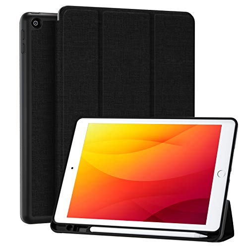Upeak Case Compatible with iPad 8th/7th Generation Case 2020/2019, iPad 10.2 inch Case Trifold Stand Smart Cover with Apple Pencil Holder, Auto Wake/Sleep, Black