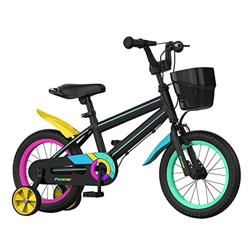 ZXQZ Bicicletas para Niños, Bicicleta para Niños y Niñas de 2 A 12 Años con Ajuste de Asiento, 12 '' / 14 '' / 16 '' / 18 '' (Color : Black, Size : 14'')