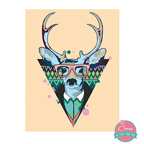 Rosa Start - Kit para Pintar sobre Lienzo de Colores acrílicos - Pintar con los números - Cool Deer - Dimensiones: 35 x 45 cm