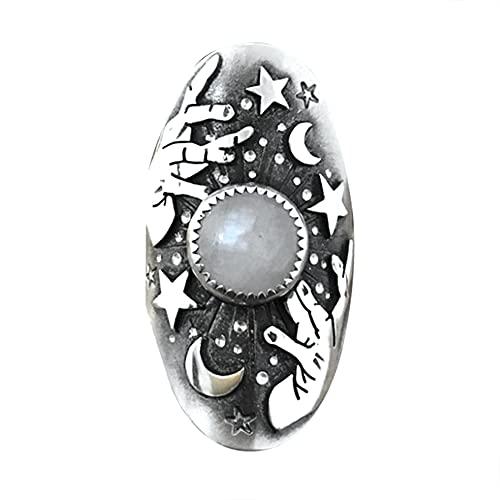 Anillo de declaración de cóctel retro de piedra lunar cielo estrellado anillo de cristal de moda de diamantes de imitación banda de fiesta joyería para mujeres y niñas