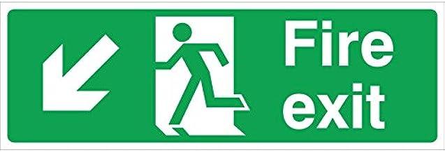 Fire Exit Arrow Left/Down Rigid Sign 45x15cm