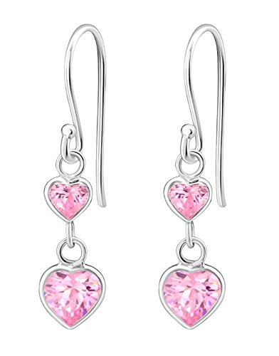 Hypoallergenic Sterling Silver Double Heart CZ Dangle Earrings for Kids (Nickel Free)
