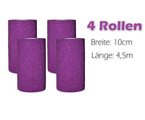 4 Stück selbsthaftende Bandagen/Fixierbinde/Verband/Wundverband/Pflasterverband/Tierverband - kohäsiv, latexfrei, elastisch - 10cm x 4,5m (Lila) - TÜV-Zertifiziert