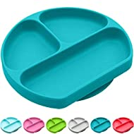 Silikong Suction Plate for Toddlers | BPA Free, 100% Food-Grade Silicone | Microwave, Dishwasher and Oven Safe | Stay Put Divided Baby Feeding Bowls and Dishes for Kids and Infants