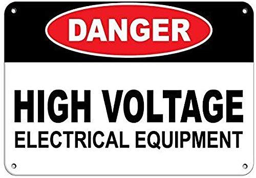 Donjie Peligro de alto voltaje equipo eléctrico divertido retro metal estaño cartel...