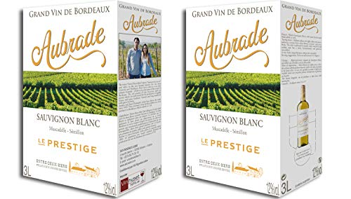 2 x Aubrade Le Prestige 2019 A.O.C. Bordeaux Entre Deux Mers Bag-in-Box Weißwein trocken (2 x 3l)