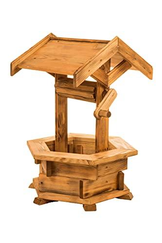 Holzbrunnen für den Garten, Gartenbrunnen aus Holz, Deko Brunnen, Gartendeko witterungsbeständig, mit Dach, (Kiefer)
