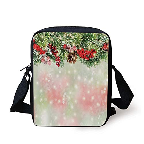 Christmas,Evergreen Fir Branches with Red Ripe Holly Berries Blurred Backdrop Garland Decorative,Red Green Brown Print Kids Crossbody Messenger Bag Purse