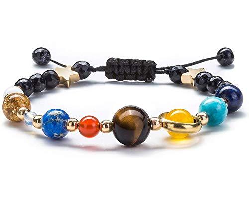 Pulsera de perlas para mujeres y hombres, universo galaxia, los nueve planetas guardianes, estrella de piedra, pulsera tejida