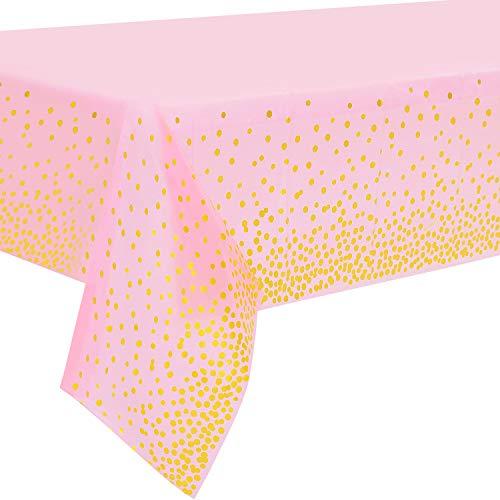 2 Stück Pink und Gold Party Tischdecke Einweg für Rechteck Tisch, Gold Dot Confetti Geburtstag Tischdecke, für Single Party, Mädchen Geburtstag, Baby Shower, Verlobung, Hochzeit, 137 cm x 274 cm
