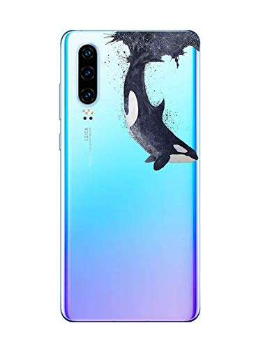 Oihxse Funda Huawei P8 Lite 2017 Transparente Silicona TPU Protector Flexibilidad Carcasa, Oceano Animal Diseño Case para Huawei P8 Lite 2017 Gel Cover Bumper-Pescado A2