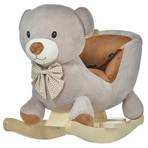 HOMCOM Kids Children Rocking Horse Plush Ride On Bear Seat w/Sound Wood Base Seat Safety Belt Toddler Baby Toy Grey
