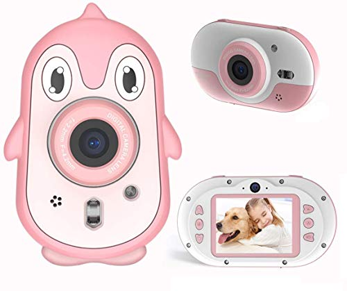 Kids Digital Camera,LSLYA Kids Underwater Camera,Rechargeable Shockproof Camera w/2.4 Inch HD Screen,Outdoor Digital Camera for Kids w/Games,Birthday Gift for Girls Age 6,7,8,9,Pink