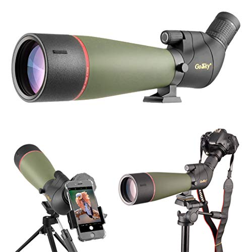 Gosky 2019 Updated Newest Spotting Scope with Tripod, Carrying Bag - BAK4 Angled Scope for Target...