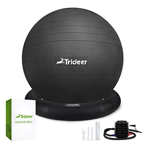Trideer Ball Chair - Exercise Stability Yoga Ball with Base for Home and Office Desk, Ball Seat,...