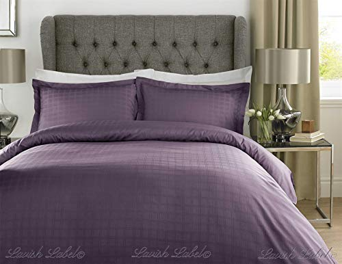Hotel Collection 400 Thread Count 100% Cotton Satin Stripe Check Bedding Duvet Cover Set-Double-Purple