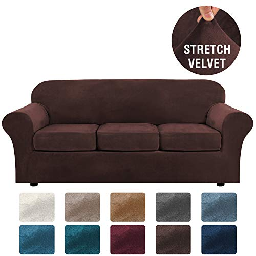 H.VERSAILTEX Modern Velvet Plush 4 Piece High Stretch Sofa Slipcover Strap Sofa Cover Furniture Protector Form Fit Luxury Thick Velvet Sofa Cover for 3 Cushion Couch, Machine Washable(Sofa,Brown)