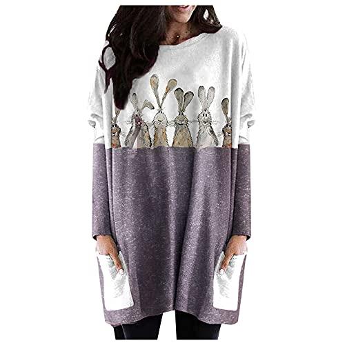 Sweatshirt décontracté à manches longues pour femme - Imprimé thermique - Col ras du cou - T-shirt ample à manches longues pour femme - T-shirt de sport AB2552, gris, XXL