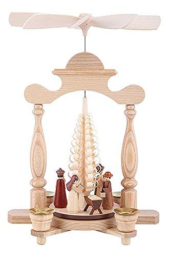 Müller German christmas pyramid Nativity scene, 1-tier, height 30 cm / 12 inch, natural, original Erzgebirge by Mueller Seiffen