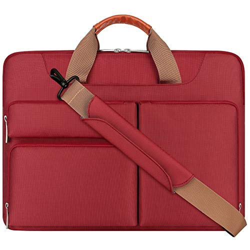 Lacdo 15.6 Inch Laptop Shoulder Bag, 360° Protective Computer Sleeve Carrying Case for 15-15.6 Acer Aspire 5, E 15, Predator Helios 300, Flagship, Inspiron, Ideapad 330, HP Pavilion, ASUS TUF, Red