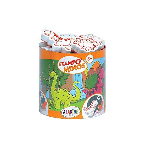 Aladine 85123 - Stampo Minos Dinosaurier, 10 Stempel und 1 Stempelkissen