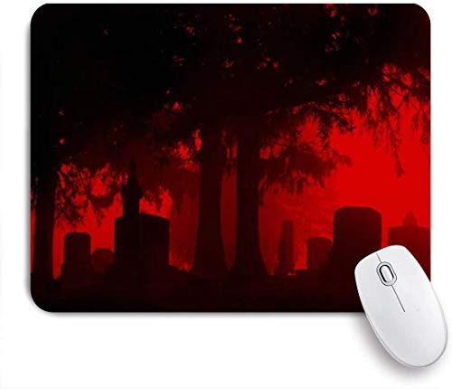 Benutzerdefiniertes Büro Mauspad,Schöner Friedhof auf nebligen Morgen gruseligen Grabsteinen Grabland Grab,Anti-slip Rubber Base Gaming Mouse Pad Mat