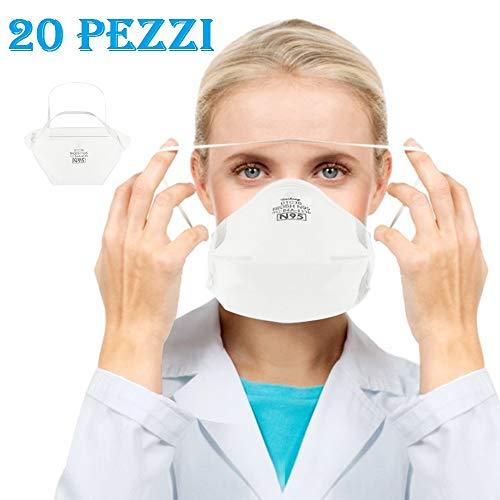 20pz Maschera FF-P2 Non Tessuto,a 4 Strati,Migliore Protezione in Smog, Luog