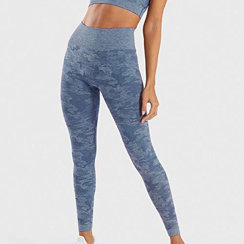 B/H Pantacourt de Sport Femme Leggings,Pantalon de Yoga sans Couture à Taille Haute, Legging Camouflage Respirant aux Hanches-Bleu_S