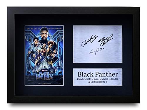 HWC Trading Black Panther The Avengers A4 Gerahmte Signiert Gedruckt Autogramme Bild Druck-Fotoanzeige Geschenk Für Chadwick Boseman Michael B. Jordan Lupita Nyong'O Filmfans