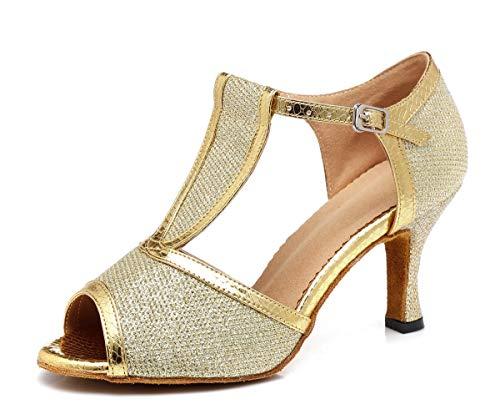 Hanfike Zapatos para las mujeres invitadas de boda T-Strap Glitter Formal Party...