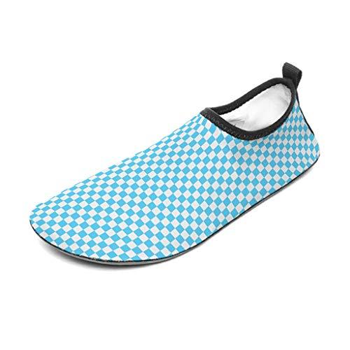 Knowikonwn - Zapatos de playa para hombre, diseño de ajedrez, color negro y verde, color blanco