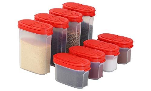 Signoraware Premium Gewürzboxen Aufbewahrungsboxen für Gewürze in groß und klein mit praktischen Streuer aus BPA-Freiem Plastik luftdichtes Vorratsdosen Set für die Küche - 8er Pack