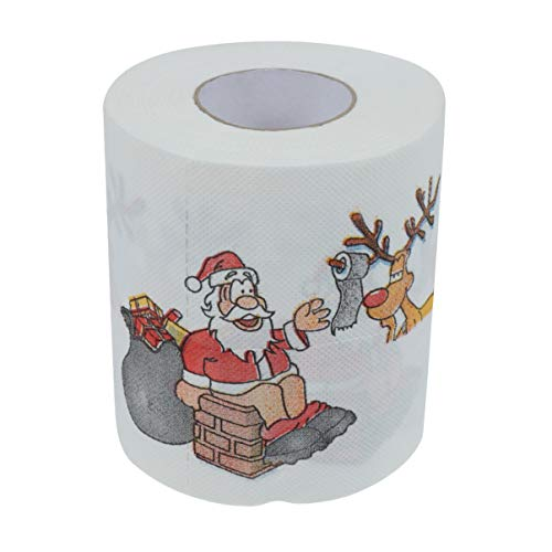 Amosfun Christmas Toilet Paper Santa Claus Reindeer Pattern Funny Toilet Tissue Xmas Gift Holiday Party Decoration Supplies