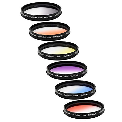 Vivitar 6-Piece Multi-Coated Rotating Graduated Color Filter Set (72mm) Includes: Red, Yellow, Blue, Orange, Grey & Purple