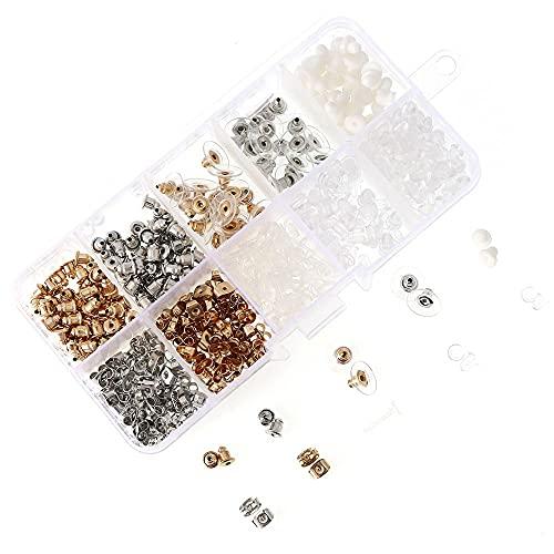 NC - Set di 12 stili per orecchini e orecchini, in metallo, plastica e gomma, con clip posteriore, a forma di farfalla, a forma di fiore, con cuscinetto in gomma per orecchini