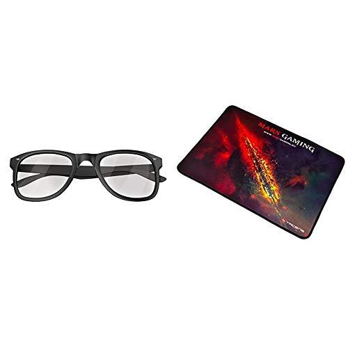 MARSGAMING MGL1 Gafas Protectoras para Gaming + MMP1 Alfombrilla Gaming para PC (Máxima Precisión con Cualquier Ratón, Base de Caucho Natural